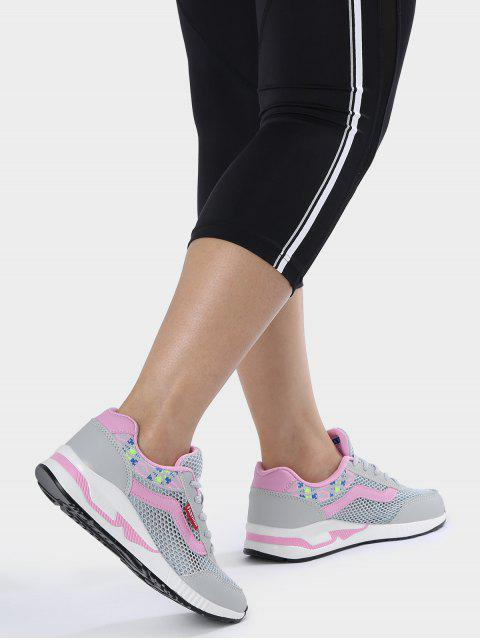 women Breathable Geometric Pattern Mesh Athletic Shoes - GRAY 37 Mobile