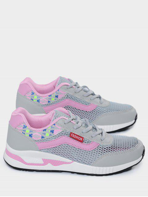 ladies Breathable Geometric Pattern Mesh Athletic Shoes - GRAY 38 Mobile