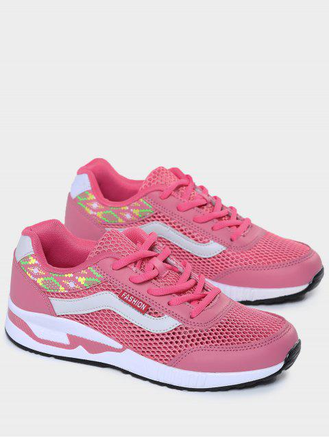 best Breathable Geometric Pattern Mesh Athletic Shoes - PEACH RED 39 Mobile