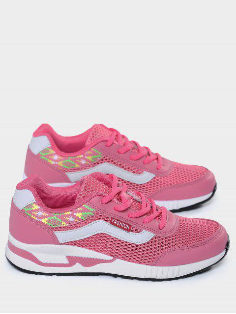 new Breathable Geometric Pattern Mesh Athletic Shoes - PEACH RED 40 Mobile