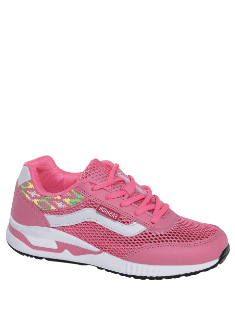 shop Breathable Geometric Pattern Mesh Athletic Shoes - PEACH RED 38 Mobile
