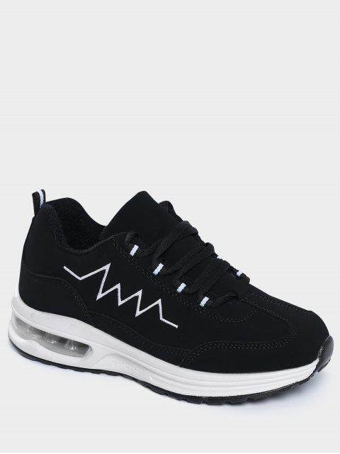 women's Air Cushion Embroider Line Athletic Shoes - BLACK 41 Mobile