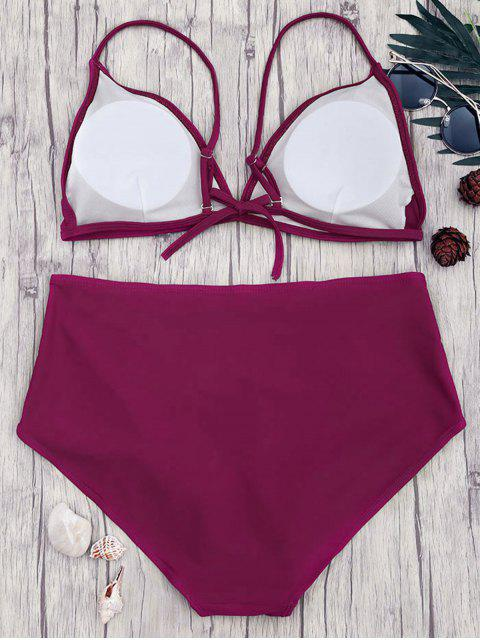 shops High Waisted Plus Size Bikini Set - MERLOT 4XL Mobile