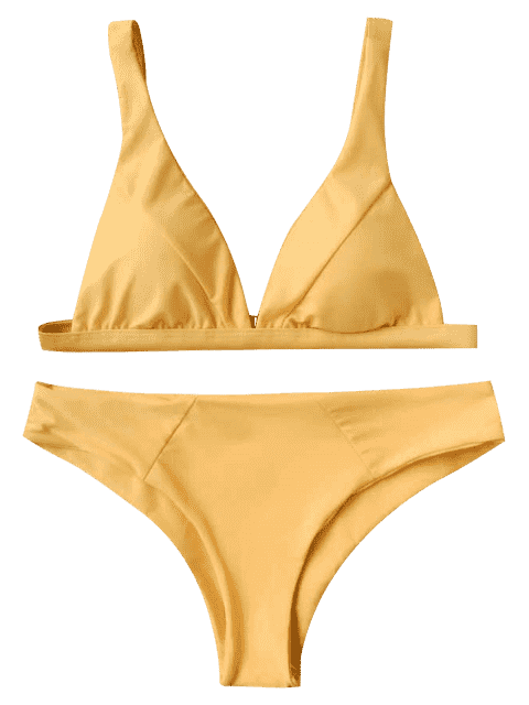 womens Padded Plunge Bikini Top and Bottoms - MUSTARD L Mobile