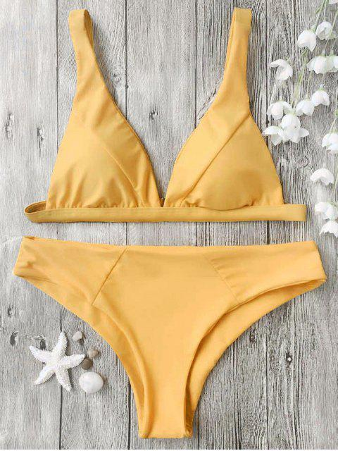 best Padded Plunge Bikini Top and Bottoms - MUSTARD XL Mobile