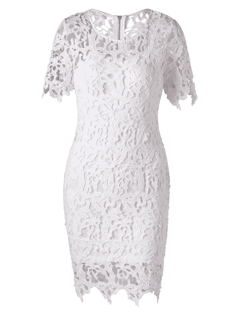 fashion Lace Cutwork Pencil Dress with Cami Dress - WHITE M Mobile