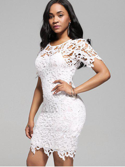 chic Lace Cutwork Pencil Dress with Cami Dress - WHITE L Mobile