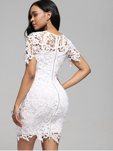 fancy Lace Cutwork Pencil Dress with Cami Dress - WHITE XL Mobile