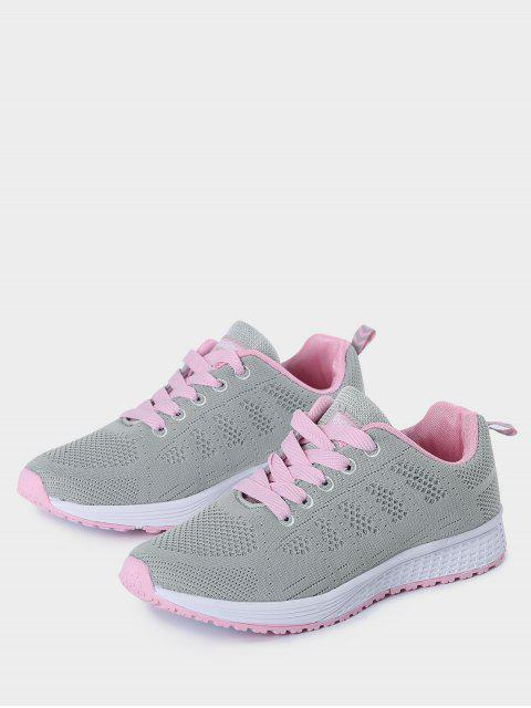 womens Eyelet Embroidery Mesh Breathable Athletic Shoes - PINK AND GREY 39 Mobile