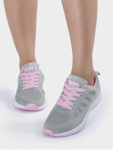 women's Eyelet Embroidery Mesh Breathable Athletic Shoes - PINK AND GREY 40 Mobile