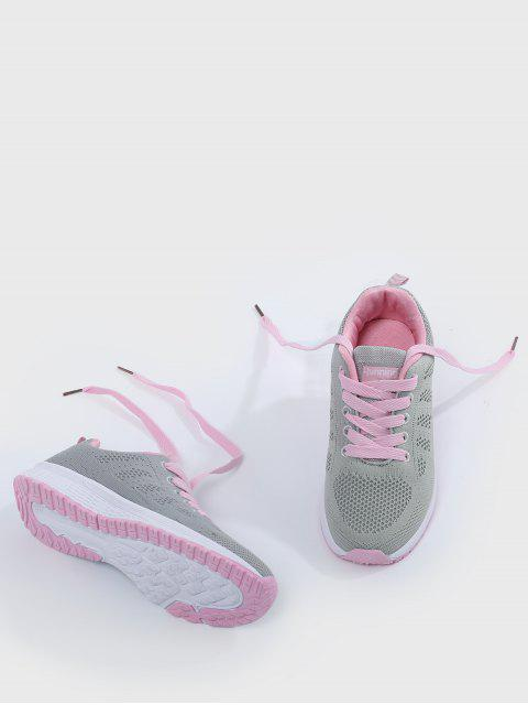 lady Eyelet Embroidery Mesh Breathable Athletic Shoes - PINK AND GREY 37 Mobile