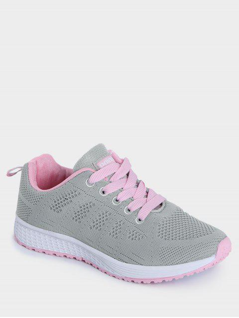 online Eyelet Embroidery Mesh Breathable Athletic Shoes - PINK AND GREY 38 Mobile