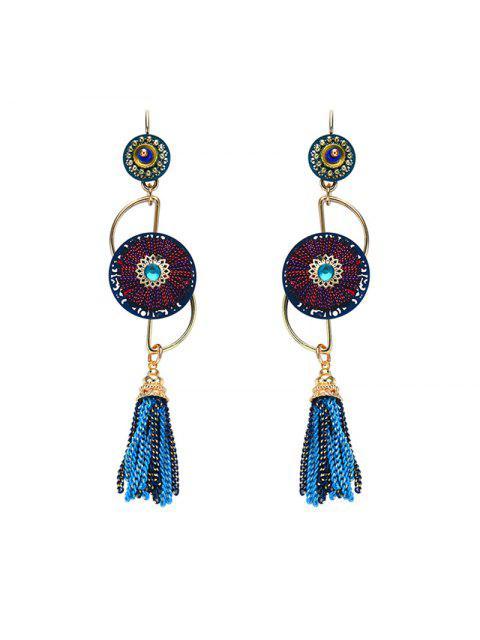 Rhinestone cadena de pendientes con franjas - Azul  Mobile