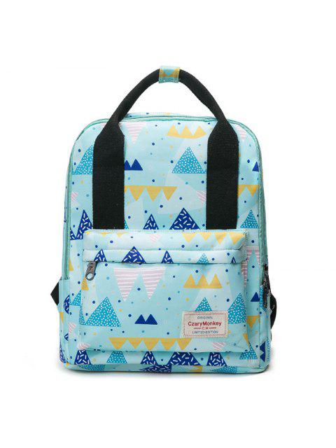 lady Printed Top Handle Backpack - BLUE  Mobile