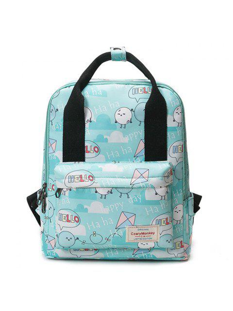 online Printed Top Handle Backpack - GREEN  Mobile