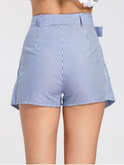 Skorts rayés à rayures avec poches - Bleu clair L Mobile