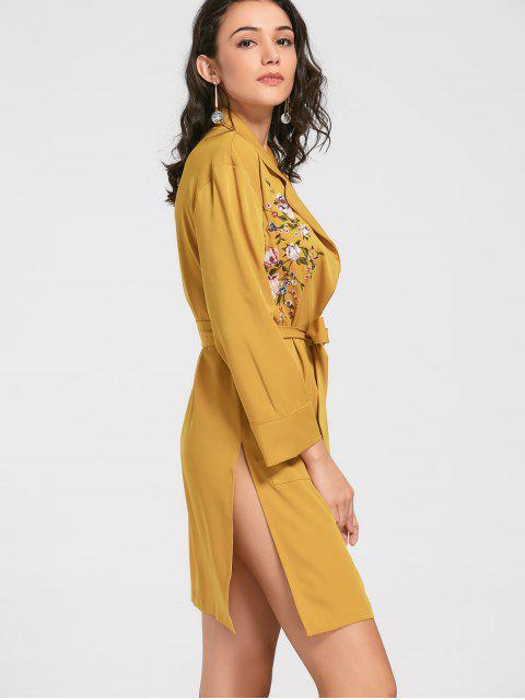 Manteau brodé brodé à motifs floraux - Jaune S Mobile