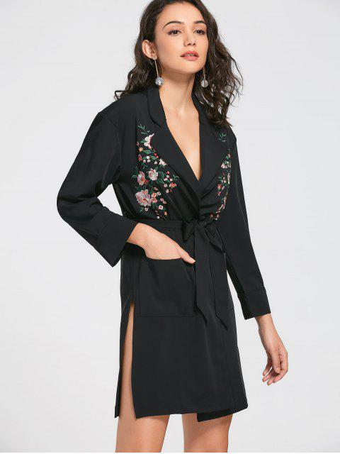 online Floral Embroidered Belted Trench Coat - BLACK L Mobile