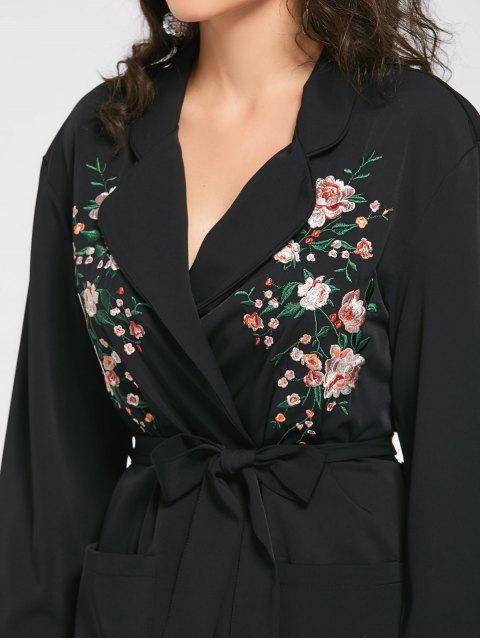hot Floral Embroidered Belted Trench Coat - BLACK S Mobile