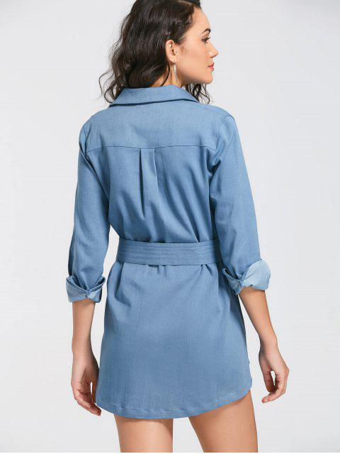 sale Long Sleeve Belted Denim Shirt Dress - DENIM BLUE XL Mobile
