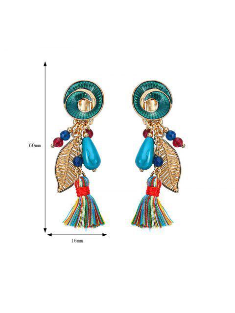 Vintage Leaf Tassel Drop Earrings - Vert  Mobile