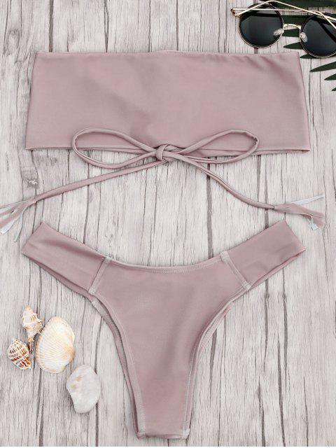 new Bandeau Lace Up Bikini Set - PINK S Mobile