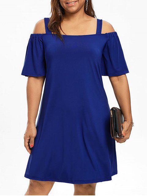 Übergröße Kleid mit Halbärmel und Schulterfrei - Blau 5XL Mobile