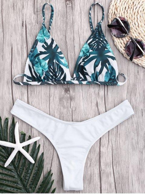 ladies Leaf Print Thong Ruched Bikini - WHITE M Mobile
