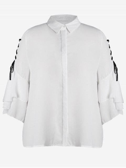 Chemise en mousseline à manches en mousseline de soie - Blanc 2XL Mobile