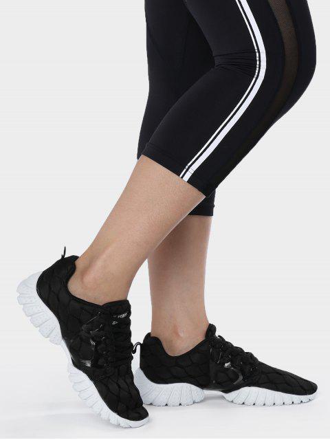 Chaussures athlétiques à motifs géométriques à mailles respirantes - Noir 39 Mobile