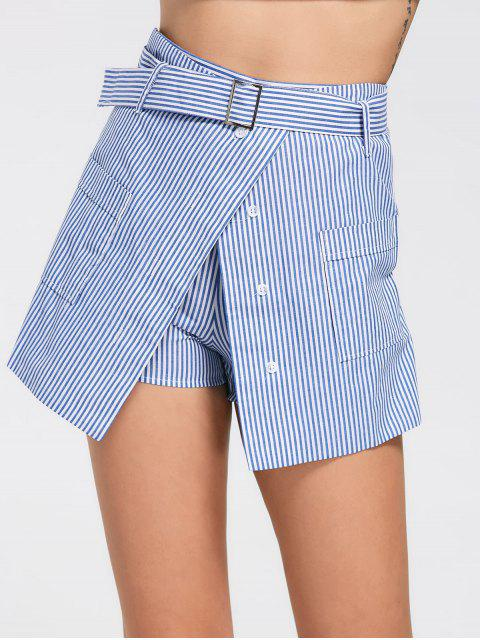 womens Belted Striped Skorts with Pockets - LIGHT BLUE XL Mobile