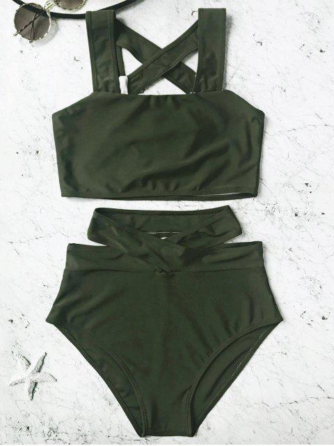 Conjunto de Bikini de talle alto enjaulado - Verde Cazador S Mobile