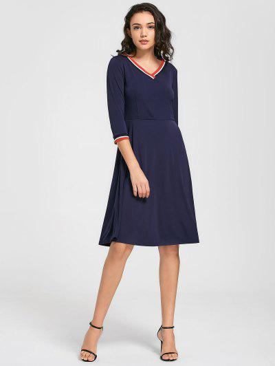 V Neck Three Quarter Sleeve Dress - Bleu Violet