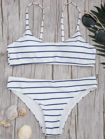 Padded Striped Bralette Scoop Bikini Set - Blue And White L