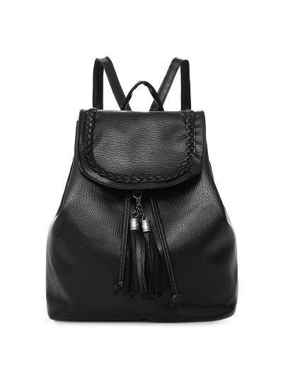 Conjunto de mochila de couro falso de borla - preto