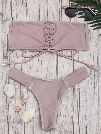 Bandeau Lace Up Bikini Set - Pink M