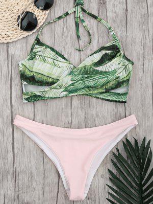 Crossover Palm Leaf High Cut Bikini - Rose PÂle M