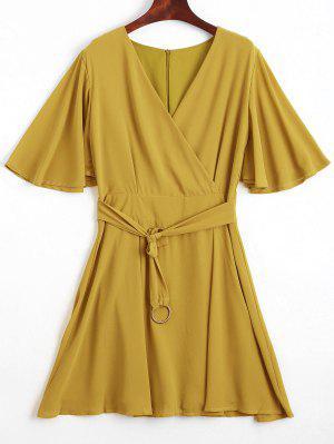 Flouncy Sleeve Belted Chiffon Dress - Yellow S