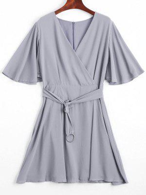 Robe En Mousseline De Soie à Manches Courtes Flouncy - Gris L