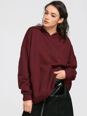 Drop Shoulder Front Pocket Oversized Hoodie - Wine Red