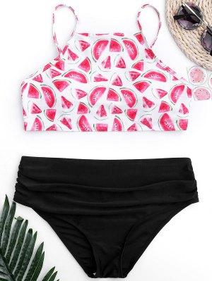 Bikini De Corte Alto De Sandía Acanalada - Negro M