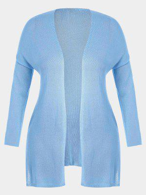 Open Front Plus Size Slit Cardigan - Light Blue 2xl