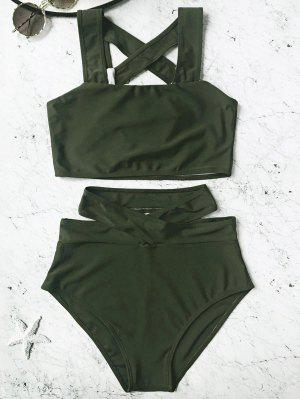 Ensemble De Bikini à Haute Taille En Cage - Vert Chasseur L