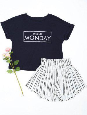 Loungewear Graphic Top With Striped Shorts - Purplish Blue 2xl