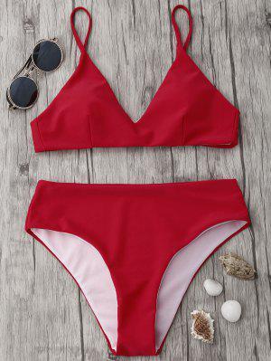 Ensemble De Bikini à Taille Haute Spaghetti Strap - Rouge M