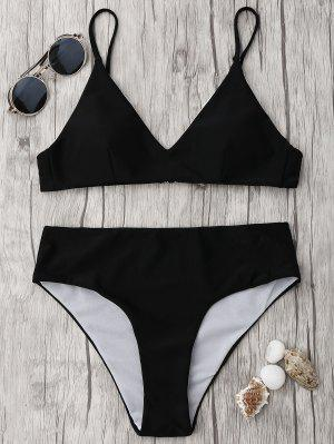 Spaghetti Strap High Waist Bikini Set - Black M