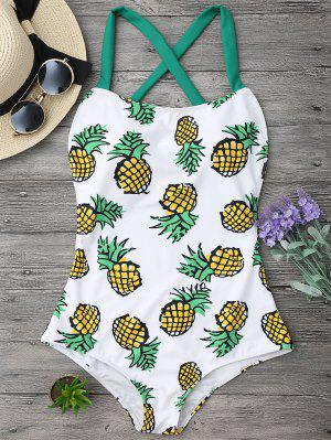 Pineapple Print Cross Back Swimsuit - M