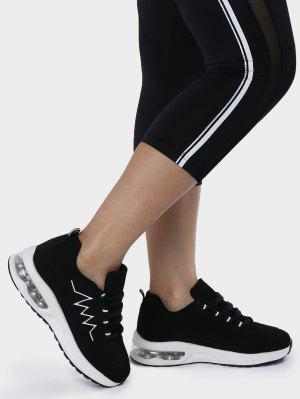 Air Cushion Embroider Line Athletic Shoes - Black 38