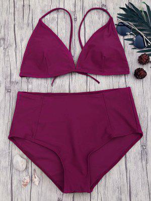 High Waisted Plus Size Bikini Set - Merlot 4xl