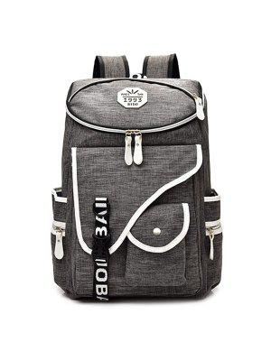 Letter Jacquard Strap Nylon Backpack